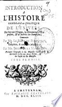 Introduction A L Histoire Generale Et Politique De L Univers O L On Voit L Origine Les R Volutions L Etat Pr Sent