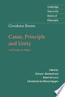 Giordano Bruno  Cause  Principle and Unity
