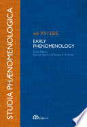 Studia Phaenomenologica Vol Xv 2015 Early Phenomenology