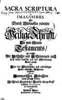 SACRA SCRIPTURA LOQUENS IN IMAGINIBUS. Die Durch Bildnussen redende Heilige Schrifft, Alt- und Neuen Testaments