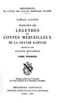 Traduction des L  gendes et contes merveilleux de la Grande Kabylie