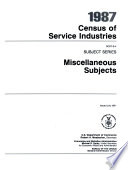 1987 Census of Service Industries