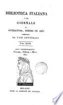 Biblioteca Italiana sia Giornale di Letteratura Scienze ed Arti Biblioteca Italiana sia Giornale di Letteratura Scienze ed Arti TOMO XCVII