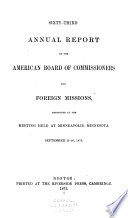 Annual Report - American Board of Commissioners for Foreign Missions