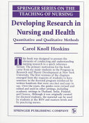 Developing Research in Nursing and Health