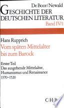 Die deutsche Literatur vom sp  ten Mittelalter bis zum Barock