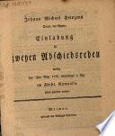 Johann Michael Heinzens Direct. des Gymn. Einladung zu zweyen Abschiedsreden welche den 1sten May 1778 vormittags 9 Uhr im Fürstl. Gymnasio sollen gehalten werden