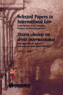 Selected Papers In International Law Textes Choisis En Droit International