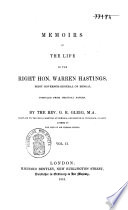 Memoirs of the life of the Right Hon. Warren Hastings, first governor-general of Bengal, compiled from original papers