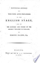 Historical Account of the Rise and Progress of the English Stage