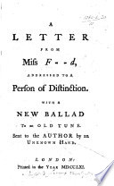 download ebook a letter from miss f--d [i.e. ann ford, afterwards thicknesse], addressed to a person of distinction [i.e. william villiers, earl of jersey]; with a new ballad to an old tune sent to the author by an unknown hand pdf epub