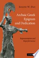 Archaic Greek Epigram and Dedication