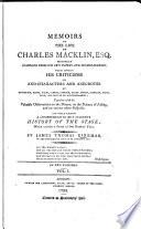 Memoirs of the Life of Charles Macklin, Esq