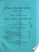 The Phoenix a Monthly Magazine for China  Japan   Eastern Asia