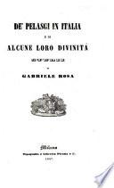 DE  PELASGI IN ITALIA E DI ALOUNE LORO DIVINITA