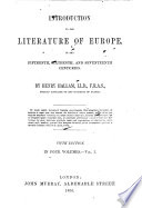 Introduction To The Literature Of Europe Fourth Edition