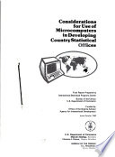 Considerations for use of microcomputers in developing country statistical offices