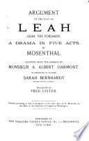 Argument of the Play of Leah (Leah, the Forsaken)