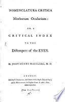 Nomenclatura Critica Morborum Ocularium