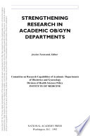 Strengthening Research in Academic OB GYN Departments