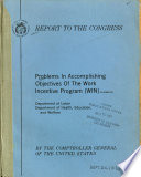 Problems in Accomplishing Objectives of the Work Incentive Program  WIN  Book PDF
