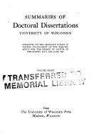 Summaries of Doctoral Dissertations  University of Wisconsin Book PDF