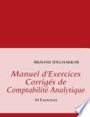 Manuel D Exercices Corrig S de Comptabilit Analytique