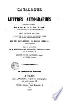 Catalogue de lettres autographes provenant du cabinet de feu M.J.J. de Bure... par le ministère de Me Bonnefons de Lavialle, commissaire-priseur...