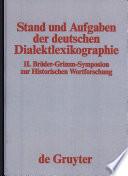 Stand und Aufgaben der deutschen Dialektlexikographie
