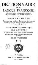 Dictionnaire De La Langue Françoise, Ancienne Et Moderne0