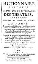 Book Dictionnaire portatif historique et littéraire des théatres