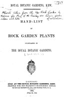 Hand-list of Rock Garden Plants Cultivated in the Royal Botanic Gardens