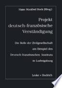 Projekt deutsch franz  sische Verst  ndigung