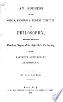An Address on the Origin  Progress   Present Condition of Philosophy