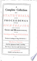 A Complete Collection of State-trials and Proceedings for High-treason, and Other Crimes and Misdemeanors: 1696-1709