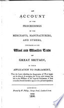 An Account Of The Proceedings Of The Merchants Manufacturers And Others Concerned In The Wool And Woollen Trade Of Great Britain