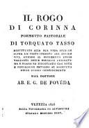 Il rogo di Corinna  poemetto pastorale   restituito alla sua vera lezione sopra un testo inedito del secolo XVI      con note e prefazione     dal dottore E  G  de Poveda