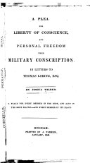download ebook a plea for liberty of conscience, and personal freedom from military conscription pdf epub