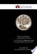 Künker Auktion 296 - Münzen und Medaillen aus Mittelalter und Neuzeit u. a. Die Zeit des Dreißigjährigen Kriegs - Die Sammlung Prof. Herbert Stricker