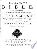 La Bible, revue sur les originaux, et retouchée dans le langage