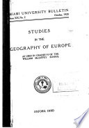 Studies in the Geography of Europe