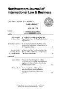 Northwestern journal of international law   business