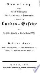 Sammlung aller für das Großherzogthum Mecklenburg-Schwerin gültigen Landes-Gesetze