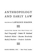 Anthropology and early law