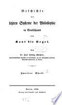 Geschichte der letzten Systeme der Philosophie in Deutschland von Kant bis Hegel
