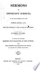 Sermons on Important Subjects     To which are Prefixed  Memoirs and Character of the Author