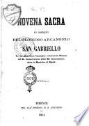 Novena sacra in ossequio del glorioso arcangelo San Gabriello