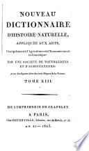 Nouveau Dictionnaire d histoire naturelle  appliquee aux arts