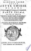 Memorie sacre delle sette chiese di Roma E di altri luoghi  che si trovano per le strade di esse