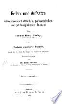 Reden und Aufsätze naturwissenschaftlichen, pädagogischen und philosophischen Inhalts